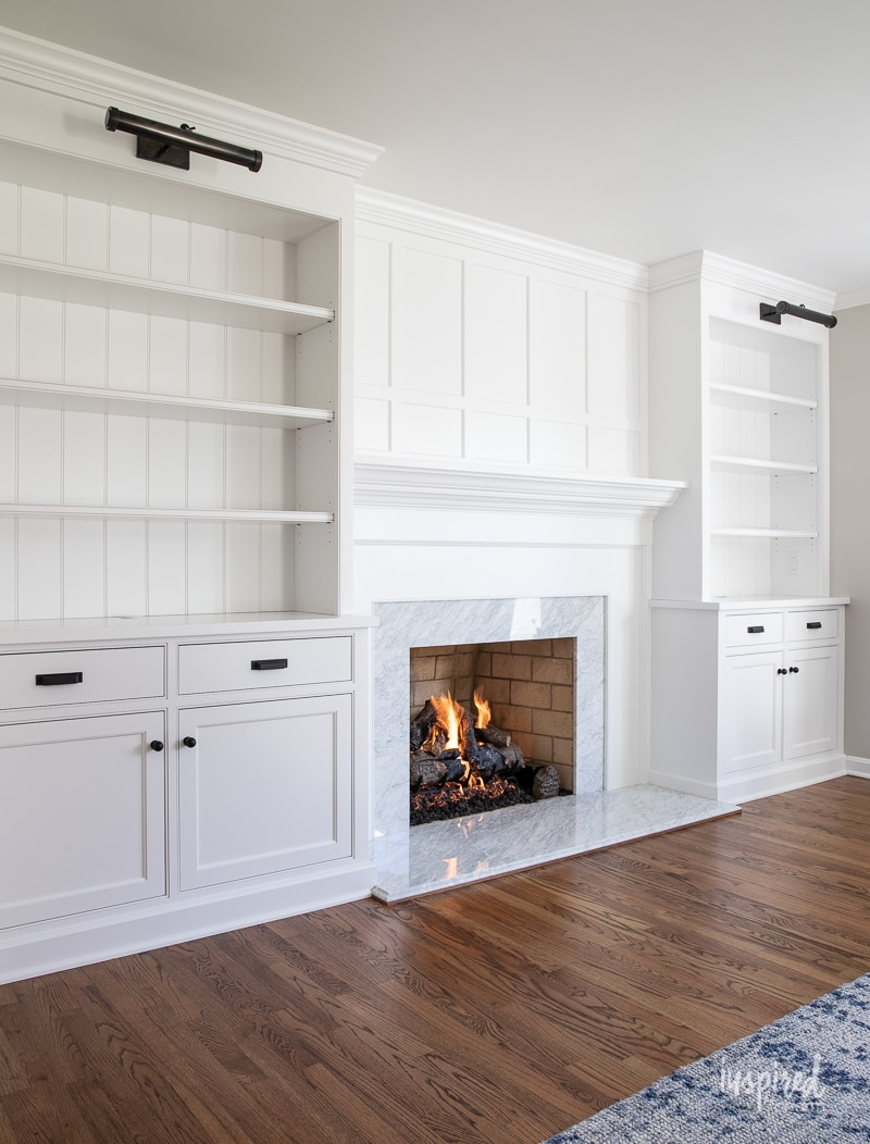 Living Room Cabinetry Reveal #custom #cabinetry #livingroom #fireplace #builtin #bookcase #mantel #woodwork